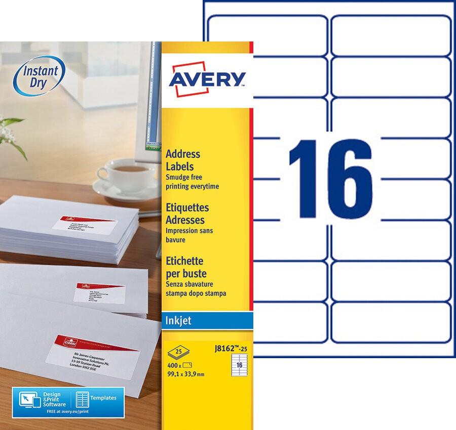 Adresetiketten J8162 25 Avery