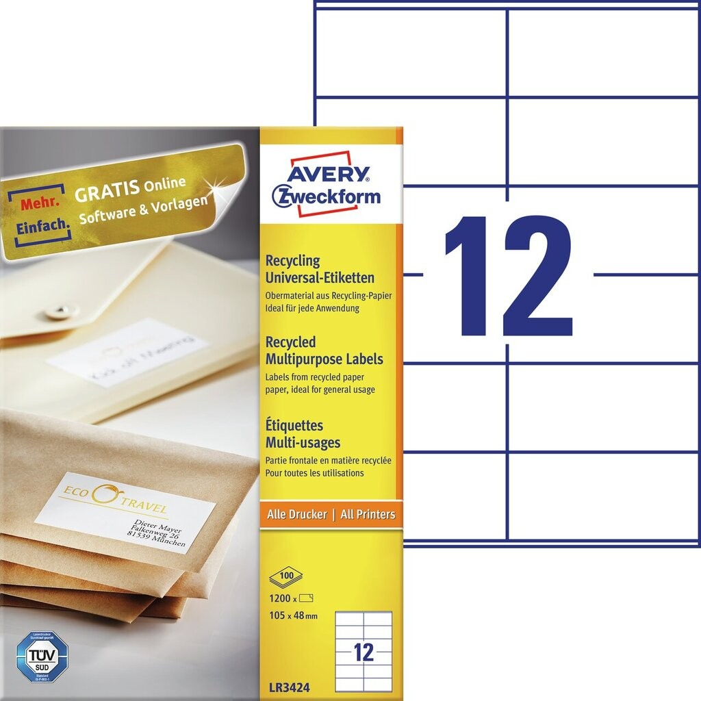 Universele etiketten Recycled | LR3424 | Avery